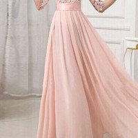 Pink Half Sleeve Pleated Maxi Dress