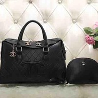 Perfect CHANEL Women Fashion Leather Satchel Shoulder Bag Handbag Crossbody Two Piece Set