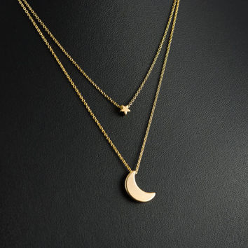 Gold Moon and Star Layered Necklace, Dainty Necklace, Delicate Fine Chain, 16K Gold Plated Crescent Moon and Star