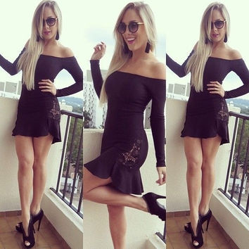 New 2015 slash neckline Women's Fashion strapless sexy party dress Young fashion mini black lace summer casual party long sleeve dress prom dress sexy vestidos = 1956882884