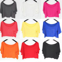 New Sexy Women Girl Loose Casual Tops Batwing Summer Short Sleeve Blouse T-Shirt