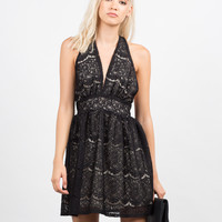 Lacey Halter Party Dress