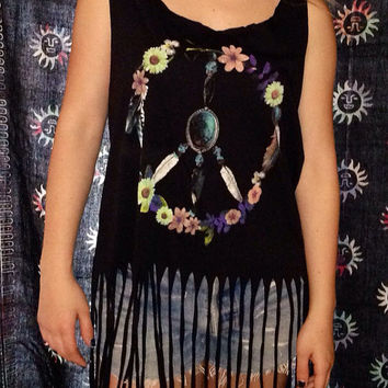 Peace sign daisy hippie boho fringe festival shirt sz large