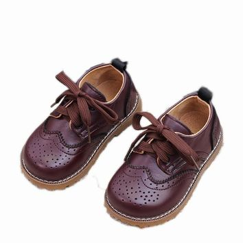 British Kid Oxford Genuine Leather Shoes For Boys Children Vintage Lace-up Flower Cutout Causal Cow Shoes Girl Princess Flats