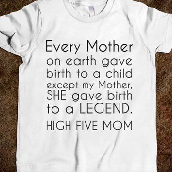 High Five Mom Toddler-Unisex White Youth T-Shirt