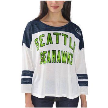 Women's Seattle Seahawks White Hail Mary 3/4 Sleeve T-Shirt