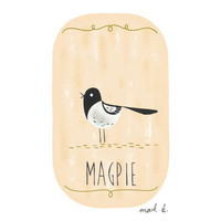 Magpie bird art print - 6x4 illustration - Available in pink, peach, cream, green, teal, blue & purple - bird print, whimsical art