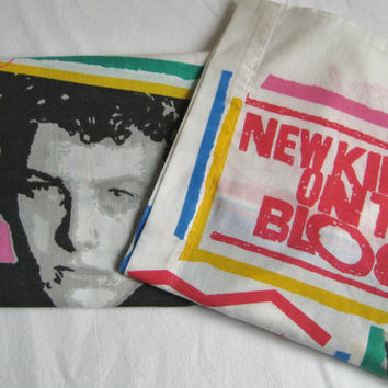 Vintage New Kids On The Block Boy Band 1990s Pillowcase Set of 2 Bedding NKOTB Craft Fabric Kids Bedding Clean Gently Used