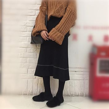 Women High Waist Show Thin Middle Long Section Knit Skirt