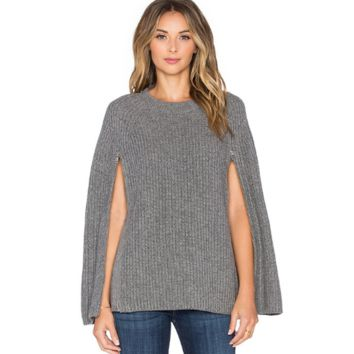 New winter gray zipper sweater round neck cape