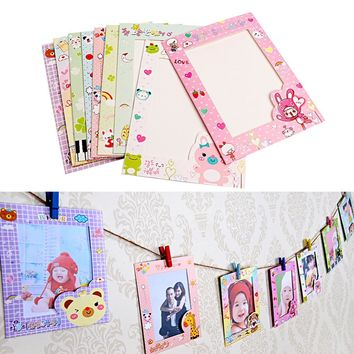 New 9Pcs/set 6 Inch Wall Hanging Cute Animal Paper Photo Frame for Pictures