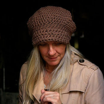 Women crochet beret hat with visor newsboy hat slouchy tam hat visor in taupe brown, Hebe