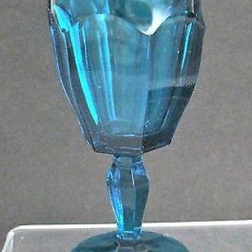 Aqua blue stem glass Crystal PRESSED