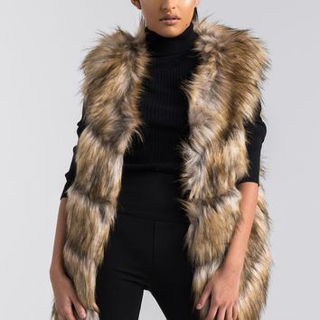 Sleeveless Faux Fur Vest in Brown