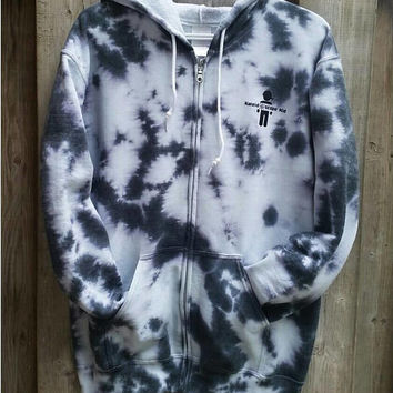Black and White Hoodie Tie Dye Zip-Up, Women's Men's Girl's Boy's Gift For Him, Gift For Her, Marbled Print, Gym, Fall Hooded Sweater Fleece