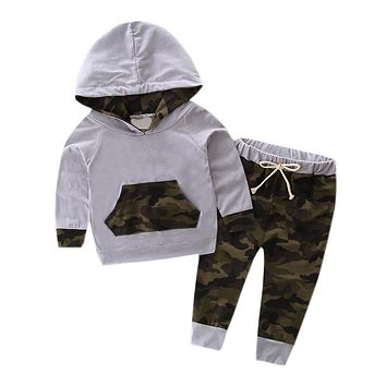 Baby Boy Camo Hooded Sweatshirt & Joggers 2pc. Outfit