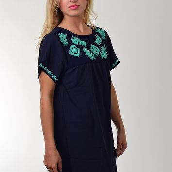 Umgee Navy Shift Dress with Turquoise Embroidered Design