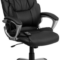 High Back Massaging Black Leather Executive Office Chair with Silver Base