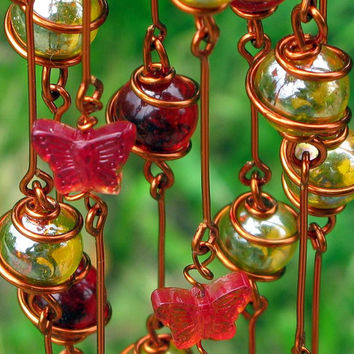 Suncatcher with Ruby Red and Apricot Copper Wrapped Glass Marbles & Red Glass Butterflies