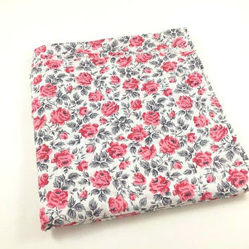 Vintage Flower Fabric Pink Flower Fabric Rose Floral Fabric Spring Fabric Shabby Pink Gray Roses Fabric Floral Fabric Quilting Sewing Craft
