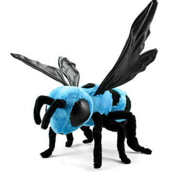 Blue Carpenter Bee Poseable Plush Art Doll OOAK
