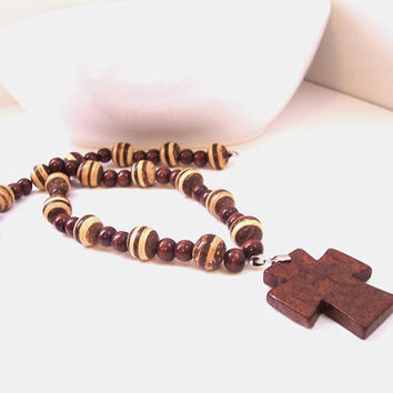 Brown Howlite Cross Necklace - Christian Jewelry