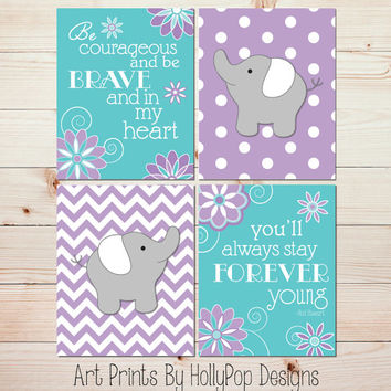 Elephant Nursery Decor Purple Aqua Wall Art Baby Girl Nursery Quad Toddler Girls Room Wall Decor Elephant Nursery Art Set of 4 Prints 0772