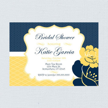 Beautiful Fancy Floral Yellow, White, & Navy Bridal Shower Invitation. Wedding Shower Invite Flora Navy and Yellow. PDF Invitation for her.