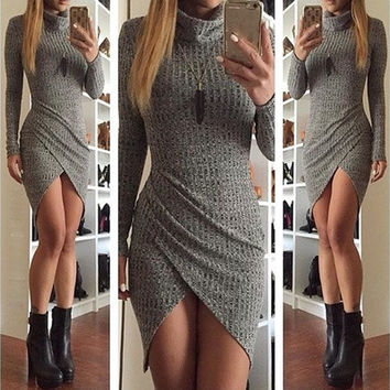 Spring Women Knitted Long Sweater Office Bodycon Sexy Dress 01-026