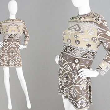 Vintage 70s LEONARD PARIS Silk Jersey Dress Mod Shift Dress Brown Geometric Dress 1970s Mini Dress Pucci Style Made in France Designer Dress