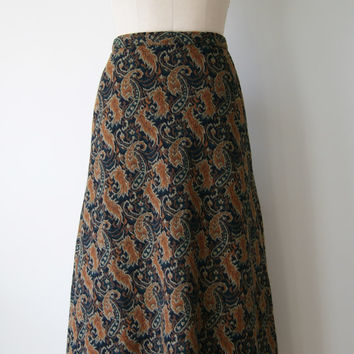 60s Skirt. Vintage Maxi Skirt. Black and Brown Paisley Skirt. Long Tapestry Print Skirt. Extra Small / Small.