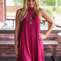 Mock Neck Dress - Burgundy