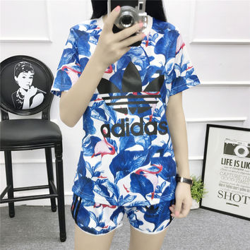 """Adidas"" Women Sports Casual Letter Flamingo Print Short Sleeve Shorts Set Two-Piece Sportswear"