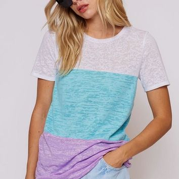 Neon Color Block Tee - Blue and Purple