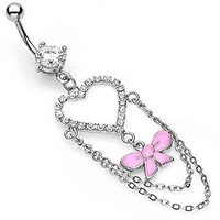 Cz Clear Heart w/ Pretty Pink ribbon bow Long Dangle Belly button Navel Ring 14 gauge