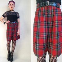 80s Clothing Wool Shorts Red Plaid Shorts Winter Shorts Vintage Wool Shorts Vintage Plaid Shorts Heathers Preppt Shorts Size Medium
