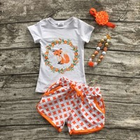 2016 girls clothes baby kids summer suit orange gold dot fox short shorts boutique with matching bow and necklace set-in Clothing Sets from Mother & Kids on Aliexpress.com | Alibaba Group