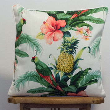 Tommy Bahama Hawaiian pineapple parrot coastal print cushion pillow cover 45 x 45cm square