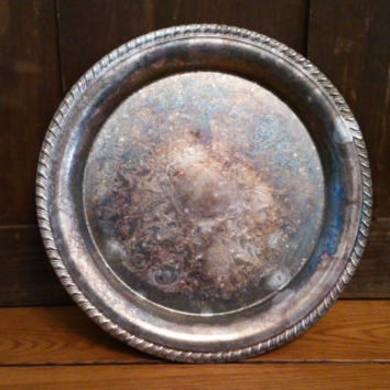 Vintage Round Ornate Silver Plated Tray Perfect for Decor and Entertaining