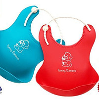 Adorable Waterproof Silicone Soft Bib with Food Catcher - Easy Clean Baby bibs for Boys or girls Red/Blue 2 Pack - FREE Infant Soft-Bite Tip Baby Spoons BPA Free and Fork Set- Premium Baby Shower Gift