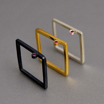 Ruby Series Modern Square Rings Three by thisandthatgallery