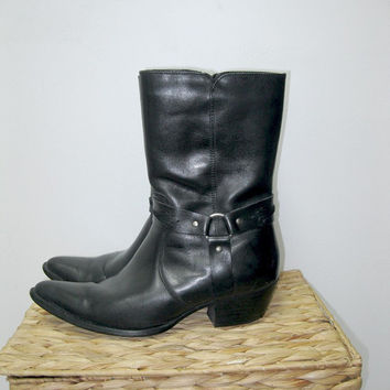 vintage 80s Black Leather Cowgirl Boots / Biker Harness Boots / Black Leather / Women / size 8.5