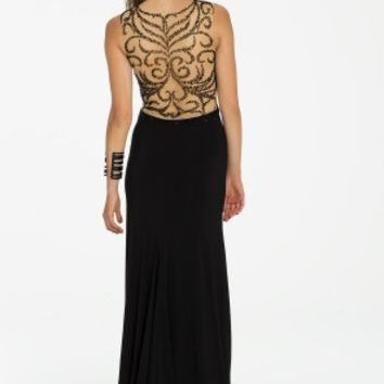 Swirl Beaded Illusion Jersey Dress with Side Slit from Camille La Vie and Group USA