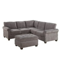 Bobkona Draise 3-Piece Reversible Sectional with Ottoman Sofa Set, Charcoal