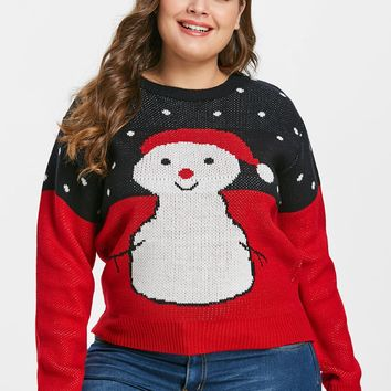 Wipalo Women Plus Size Cartoon Snowman Print Ugly Christmas Sweater Drop Shoulder Loose Fit Casual Fall Winter Pullover Sweater