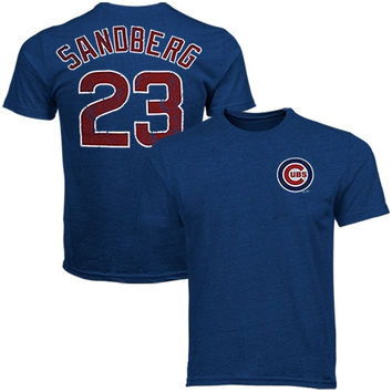 Majestic Ryne Sandberg Chicago Cubs Cooperstown Name and Number Tri-Blend T-Shirt