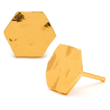 Gorjana chloe hexagon studs earrings 18k gold plated brass