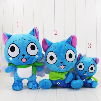 cute small size Happy plush doll toy sitting with fish Japanese cartoon Fairy Tail kawaii cat stuffed doll for children Birthday