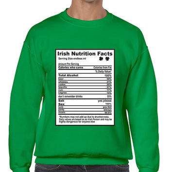 Irish nutrition facts St patrick men sweatshirt