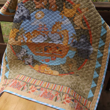 Sale - Noah's Ark Large Crib Quilt - Sage and Aqua - Whole Cloth Machine Quilted Baby Quilt